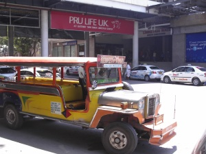 A common sight in the Philippines:  the Jeepney