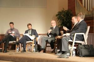 From l to r:  Dr. Ted Van Raalte, Dr. Jason Van Vliet, Rev. John Bouwers, Dr. Cornel Venema, Dr. Bob Godfrey.
