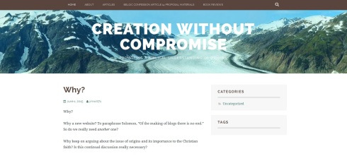 Creation Without Compromise Homepage