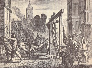 The hanging of Guy de Brès and Peregrin de la Grange on 31st of May, 1567.